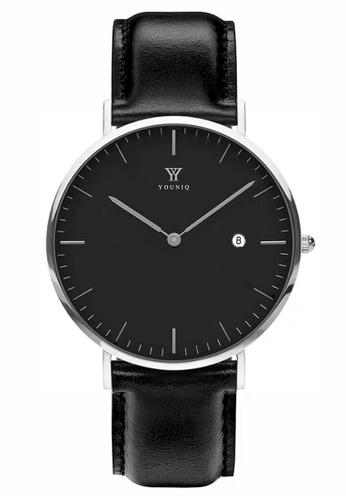 YOUNIQ black and silver YOUNIQ Men Malbec Black Dial Silver Quartz Sapphire Crystal Genuine Leather Watch 97E3BACF407281GS_1