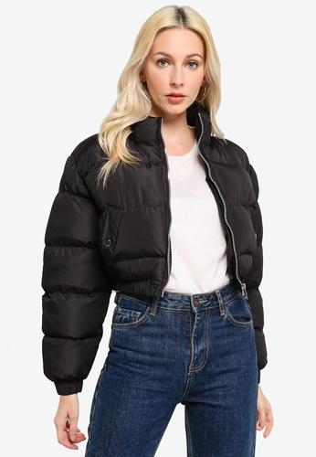 Brave Soul black Large Collar Puffer Jacket E70DBAAB45A6D9GS_1