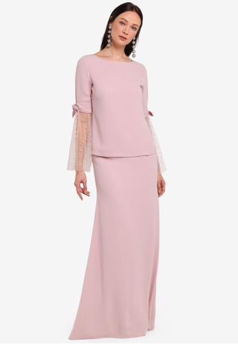 Alia B. pink Madeline Modern Kurung With Pearl Tulle Sleeves AL946AA0STCZMY_1