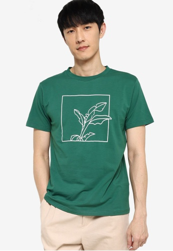 ZALORA BASICS green Framed Foliage Graphic T-Shirt 0CA15AA0824684GS_1