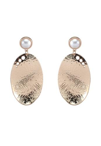 Mango gold Pearl Detail Metallic Earrings 9B61FACB01E358GS_1
