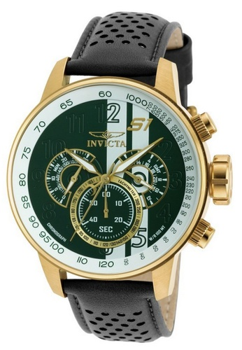 INVICTA black and gold Invicta S1 Rally Men 48mm Case Black, Brown, White Leather Strap White, Green Dial Quartz Watch 19908 w/ Yellow Impact Case IN968AC0GNVXSG_1