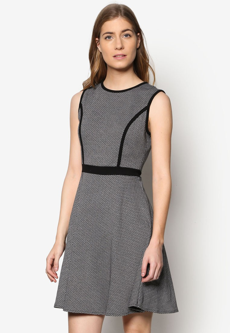 Collection Colourblock Fit & Flare Dress