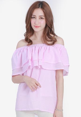 Yoco pink Pin Stripe Off Shoulder Top AD100AA710E4F9GS_1