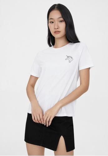 Pomelo white Sustainable Geometric Unicorn Graphic Tee - White 02B01AADB7AF94GS_1
