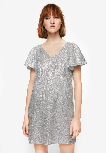Mango silver Side Slit Sequined Dress MA193AA0RGTQMY_1