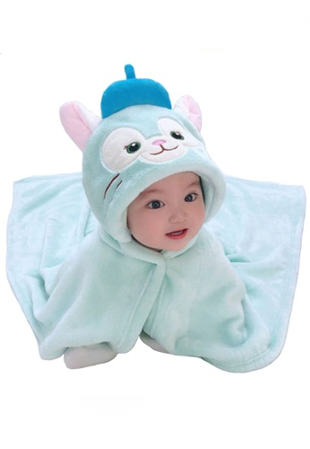 Kiddies Crew green Gelatoni Cat Cartoon Hoodie Boys Girls Baby Kids Cape Towel/ Blanket/ Jacket 59CB5KCC090D35GS_1