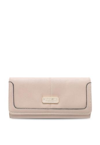 Unisa beige Faux Leather Contrast Edge Ladies Bi-Fold Wallet A6357ACEA95D10GS_1