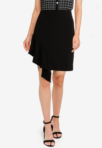 Urban Revivo black Asymmetrical Skirt 3270FAAF0ECB63GS_1