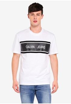 6f1ef87eb94 Calvin Klein white CJ Stripe Relax Tee - Calvin Klein Jeans  DDED0AA9D37B18GS 1