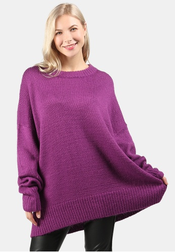 London Rag purple Crew Neck Oversize Sweater With Ribbed bottom And Cuffs C1DAAAA281C21DGS_1