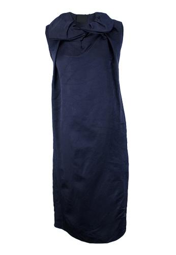 LANVIN blue Pre-Loved Navy Lanvin Silk Midi-Length Sleeveless Dress with Sculptural Collar D4389AA27C332EGS_1