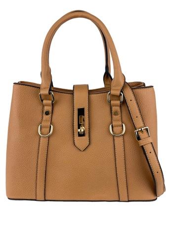 Mel&Co brown Faux Leather Satchel Bag 3774DAC7F6FD2EGS_1