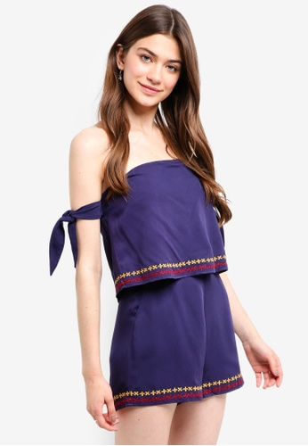 Something Borrowed navy Embroidered Off Shoulder Romper 88BE3AAC60705FGS_1