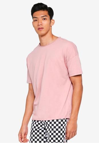 Penshoppe pink Raw Finished Boxy T-Shirt C452DAA0A7E8F4GS_1