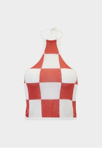 Pomelo white Checkered Halter Cami - White 84D13AAEE496DBGS_1
