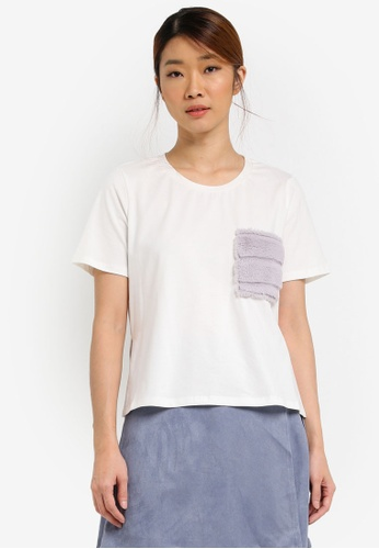 Something Borrowed white Contrast Pocket Step Hem Tee BE98BAA92E97D8GS_1