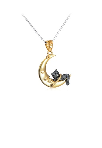 Glamorousky silver 925 Sterling Silver Fashion Temperament Golden Moon Cat Pendant with Necklace B8759ACC045F35GS_1
