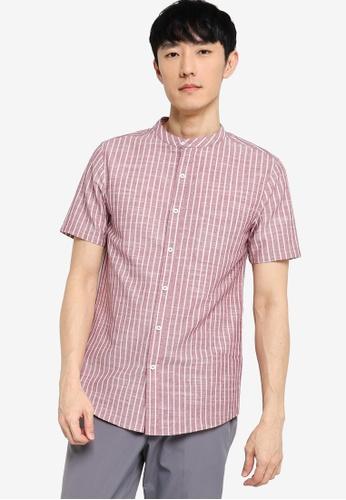 ZALORA BASICS multi Stand Collar Linen Blend Shirt 2C16BAA1A7D661GS_1
