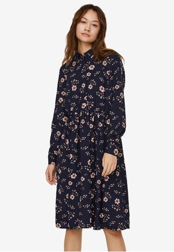 Vero Moda navy Gallie Long Sleeve Shirt Dress 3D676AAE9CF56AGS_1