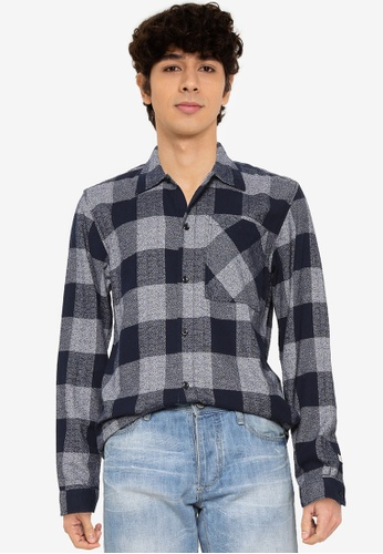 Jack & Jones navy Will Long Sleeves Shirt 9A6E0AAA2BB7CFGS_1