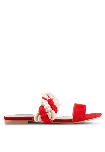 ZALORA 紅色 新年系列 編織珍珠涼鞋 BA48ASH6481E47GS_1