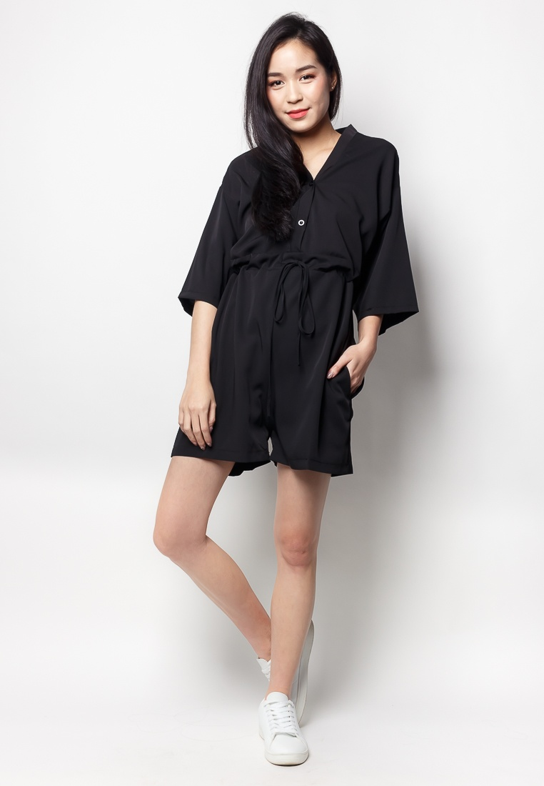 Neck V 2nd DENIECE Romper Edition Black Contemporary tBwBI
