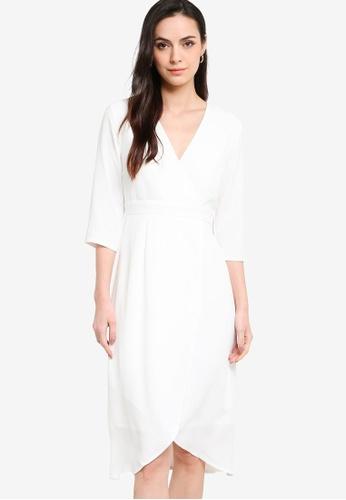 ZALORA WORK 白色 Wrap Front Tulip Skirt Dress F5AF4AA6C66CEDGS_1
