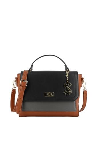 SEMBONIA brown Colorblock Flap-Top-Handle Satchel Bag A0FCEAC90D036BGS_1