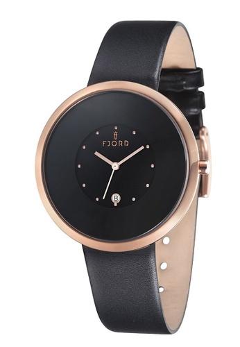 Fjord black Fjord Men's Genuine Leather Watch - FJ-3011-05 BE51CAC784C900GS_1