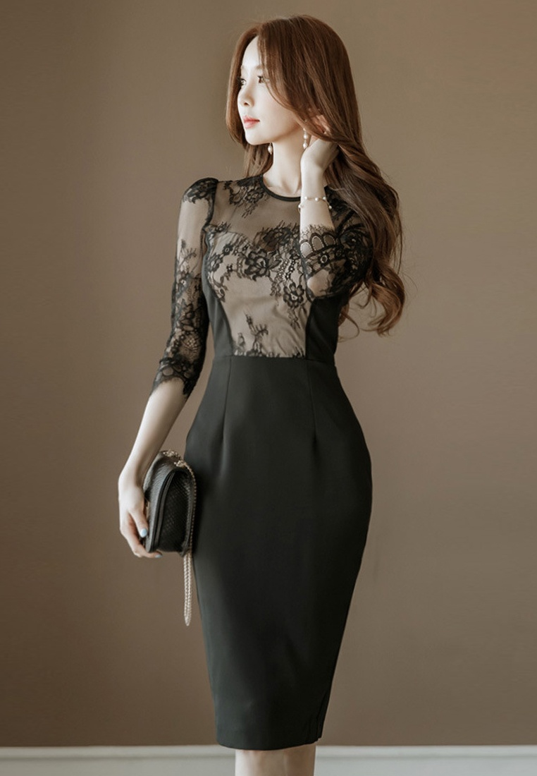 One Dress Black CA031416 Lace Black Sunnydaysweety Sleeves Piece Mid 2018 New wX4SPAqq1