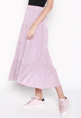 JOVET pink Tiered Maxi Skirt 729F7AA134814DGS_1