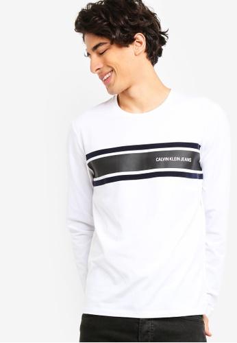 Calvin Klein 白色 條紋修身長袖T恤 - Calvin Klein 牛仔褲 A0D22AA7EE4612GS_1
