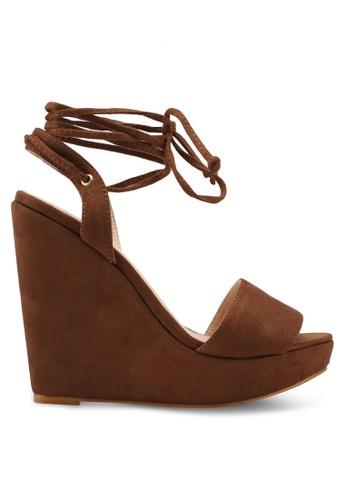 Something Borrowed brown Lace up Wedges 214B6SH87B8B01GS_1