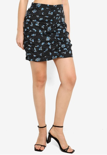 Supre black and multi Jacqueline Ruched Mini Skirt 53BB7AADFF93B9GS_1