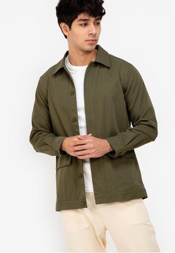 ZALORA BASICS green Flap Pocket Jacket 3708DAA8972CC4GS_1