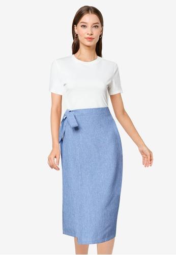 ZALORA WORK multi Contrast Fabric Midi Wrap Dress 83675AAB6A2901GS_1