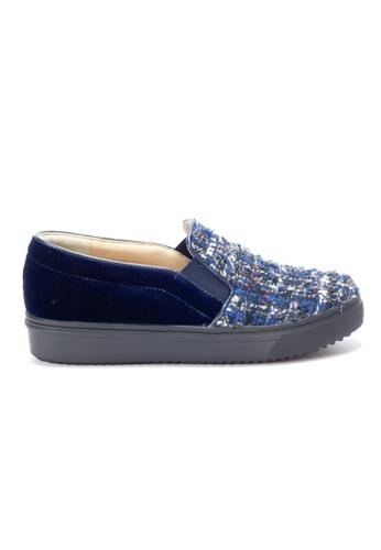 Shu Talk blue Trendy Tweed Fabric Slip-Ons SH397SH0GQOPSG_1