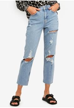 b185e0b2813 TOPSHOP blue Bleach Destroy Rip Straight Jeans 23EF9AAB1C84D0GS 1