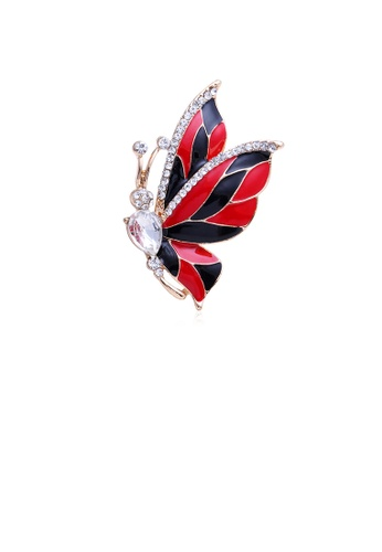 Glamorousky white Fashion and Elegant Plated Gold Black and Red Butterfly Brooch with Cubic Zirconia B15EBACDD3EE63GS_1