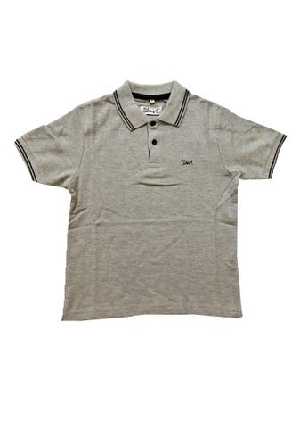 KAMDAR grey Boys Polo contrast line shirt 86A0FKABFA2230GS_1