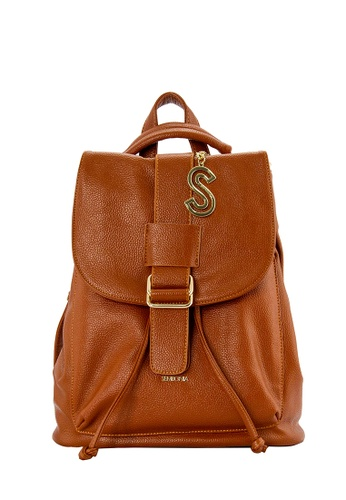 SEMBONIA brown SEMBONIA Synthetic Leather Backpack 87D23AC2A4341AGS_1