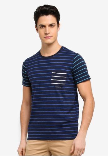 Brooks Brothers 藍色 短袖條紋T恤 37FE4AA317C35EGS_1