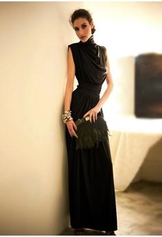Women's Party Black Turtleneck Solid Floor-Length Pleated Long Dress
