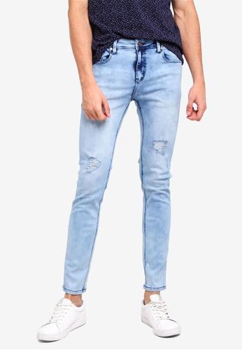 Penshoppe 藍色 刷破緊身牛仔褲 104A3AA140A97EGS_1