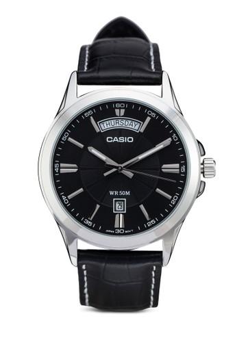 MTP-1381L-1AVDF 經典仿皮圓錶,esprit門市地址 錶類, 其它錶帶