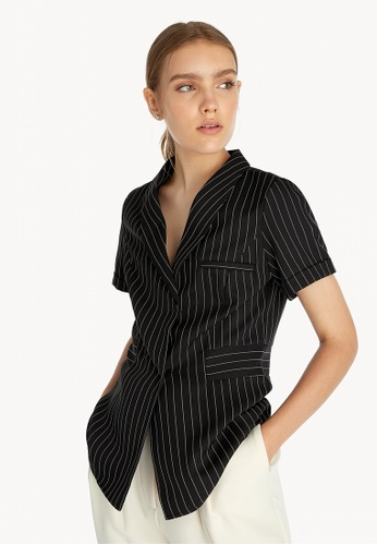 Pomelo black Pinstripes Cuffed Sleeve Shirt - Black 1E7E3AA6AB8AB8GS_1