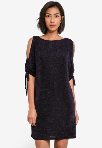 Dorothy Perkins purple Purple Lurex Batwing Shift Dress DO816AA0S7AOMY_1