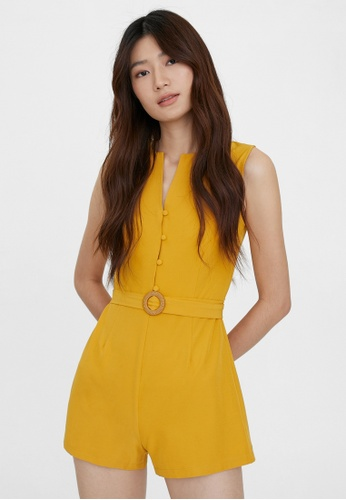 Pomelo yellow Button Up Belted Romper - Mustard 92C33AACD3C895GS_1