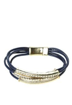 Leather Bracelet with Gold Bar & Rhinstone
